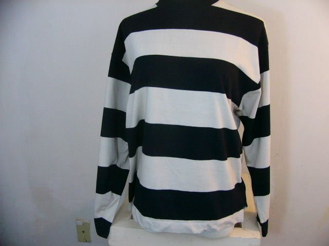 VINTAGE RARE BENETTON BLACK TAN STRIPE MADE IN ITALY CREW NECK RUGBY SHIRT MED