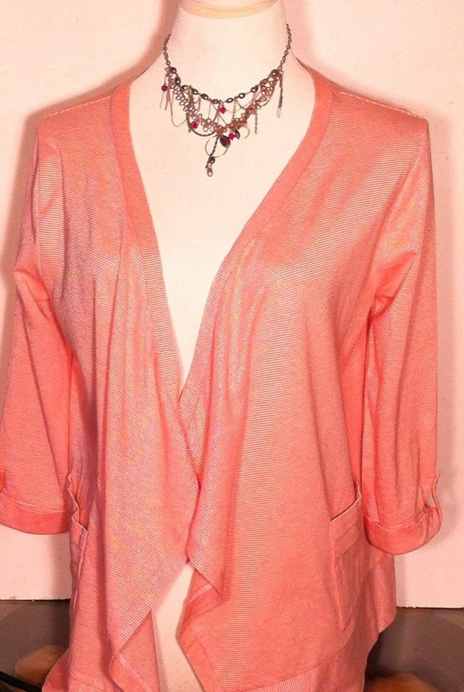 ANN TAYLOR LOFT PEACH STRIPED WRAP JACKET COVER TOP SIZE SMALL SUMMER