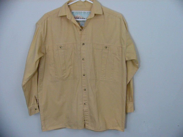 VINTAGE MENS 'MIXED BLUES' YELLOW BUTTON DOWN LONG SLEEVE SHIRT SIZE SMALL 5-7