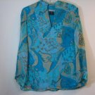NOTATIONS BLUE PAISLEY SILK BLOUSE TOP SHIRT BEADED SIZE SMALL SUMMER FUN