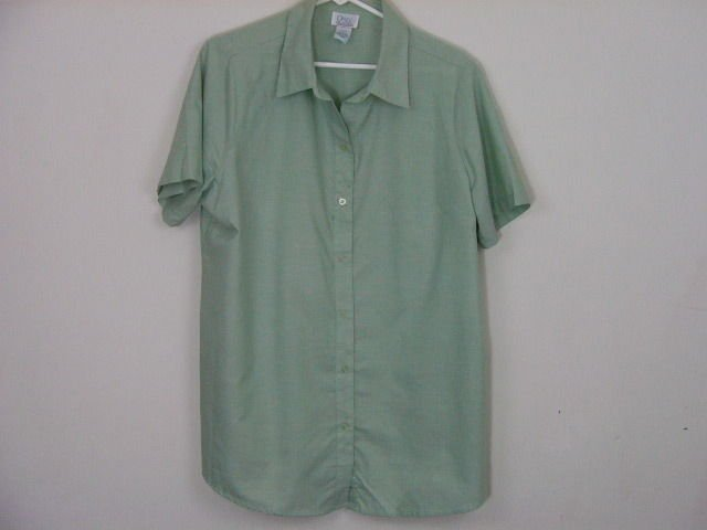 ONLY NECESSITIES WOMENS BUTTON DOWN SHORT SLEEVED BLOUSE TOP SHIRT SIZE LARGE