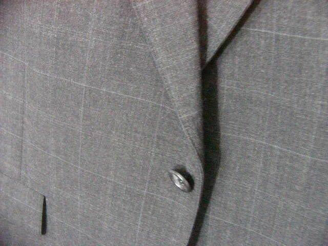 MENS TAILORED GREY SUIT PALM BEACH jacket 44R WOOL PANTS  40x29 subtle stripe