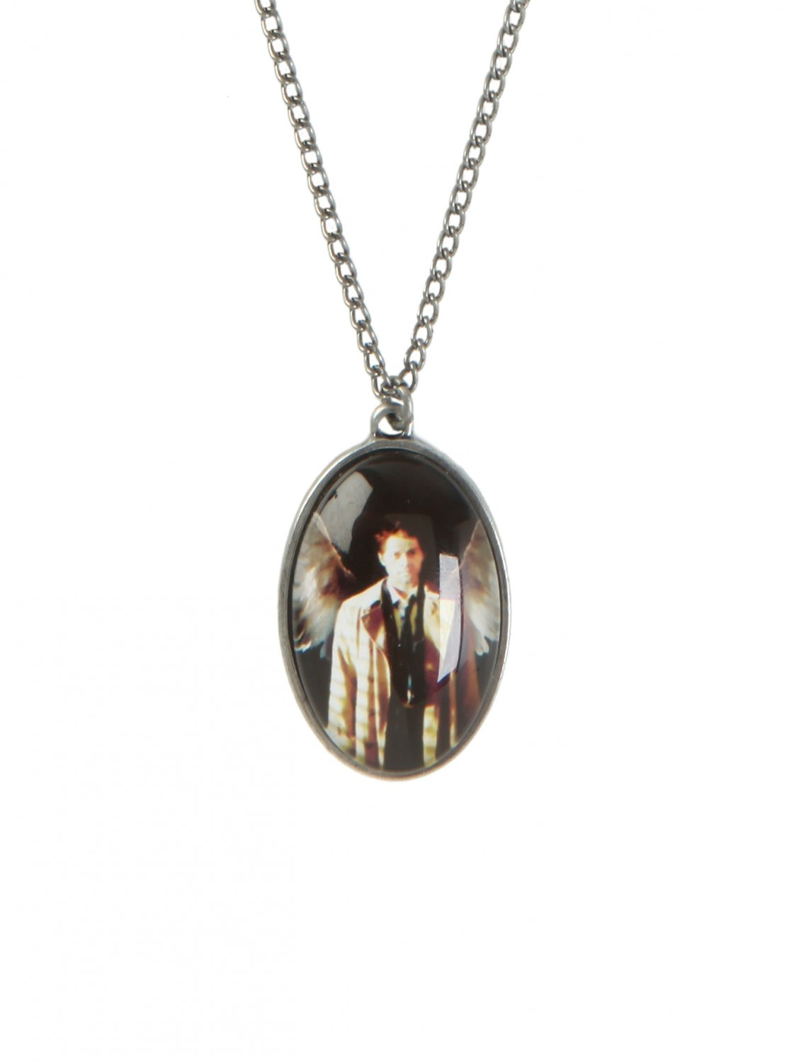 supernatural castiel oval dome pendant necklace