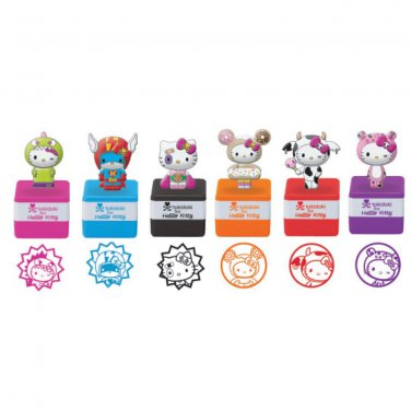Complete Set of 6 - Retired tokidoki x Sanrio Hello Kitty Self Ink Mascot Stamp Reunion Collection