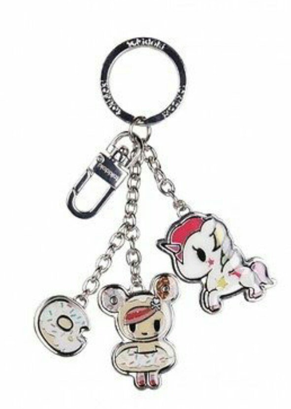 Retired tokidoki Donutella & Stellina Unicorno Metal Charm Key Chain