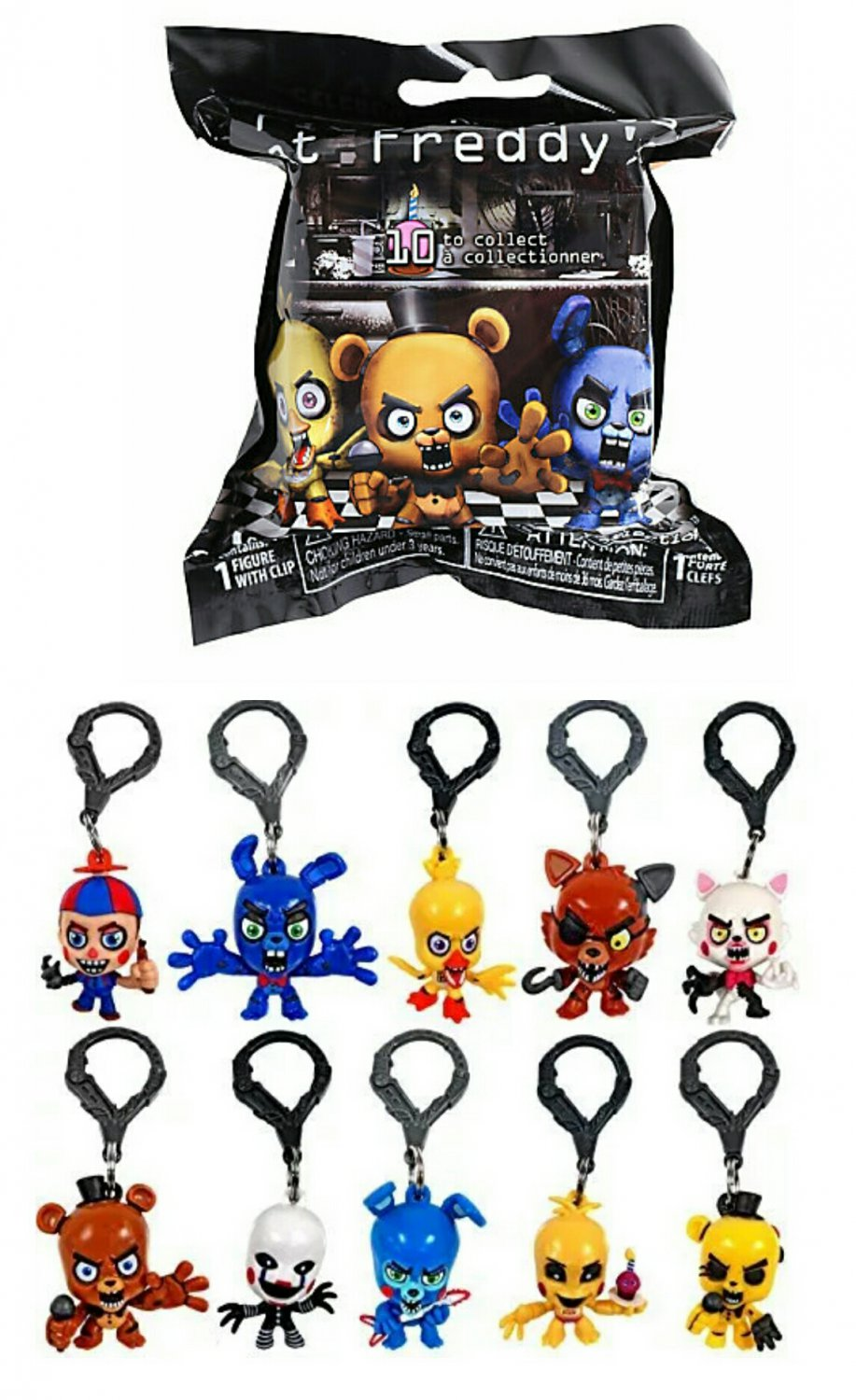 Fnaf five nights at freddy s collector clips blind bags case of 24