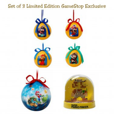 Set of 3 GameStop Super Mario Light Up Ornament, 30th Anniversary Mario Maker 4 Pk, & Snow Globe
