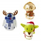 Set of 3 Hallmark Exclusive 2015 itty bittys Star Wars Holiday Plush Dolls - Yoda, C-3PO, & R2-D2