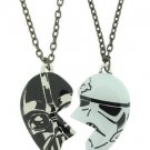 Disney Star Wars Darth Vader Stormtrooper Heart Best Friend Pendant Necklace Set