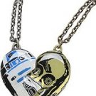 Disney Star Wars R2-D2 & C-3PO Best Friends Heart Pendant Necklace Set