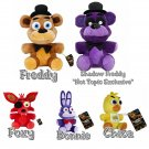 "Five Nights At Freddy's FNAF 6"" Plush Figures Set of 5 - Freddy Shadow Freddy Foxy Chica & Bonnie"