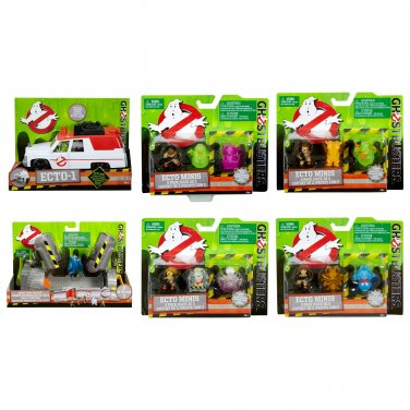 Set of 6 Ghostbusters 2016 Movie Ecto Minis Set of 4, 3 Packs + Ecto-1 Vehicle & Ghost Trap Playset