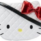 Loungefly Sanrio Hello Kitty White Quilted Face Crossbody Tote Bag Purse with Metallic Red Bow