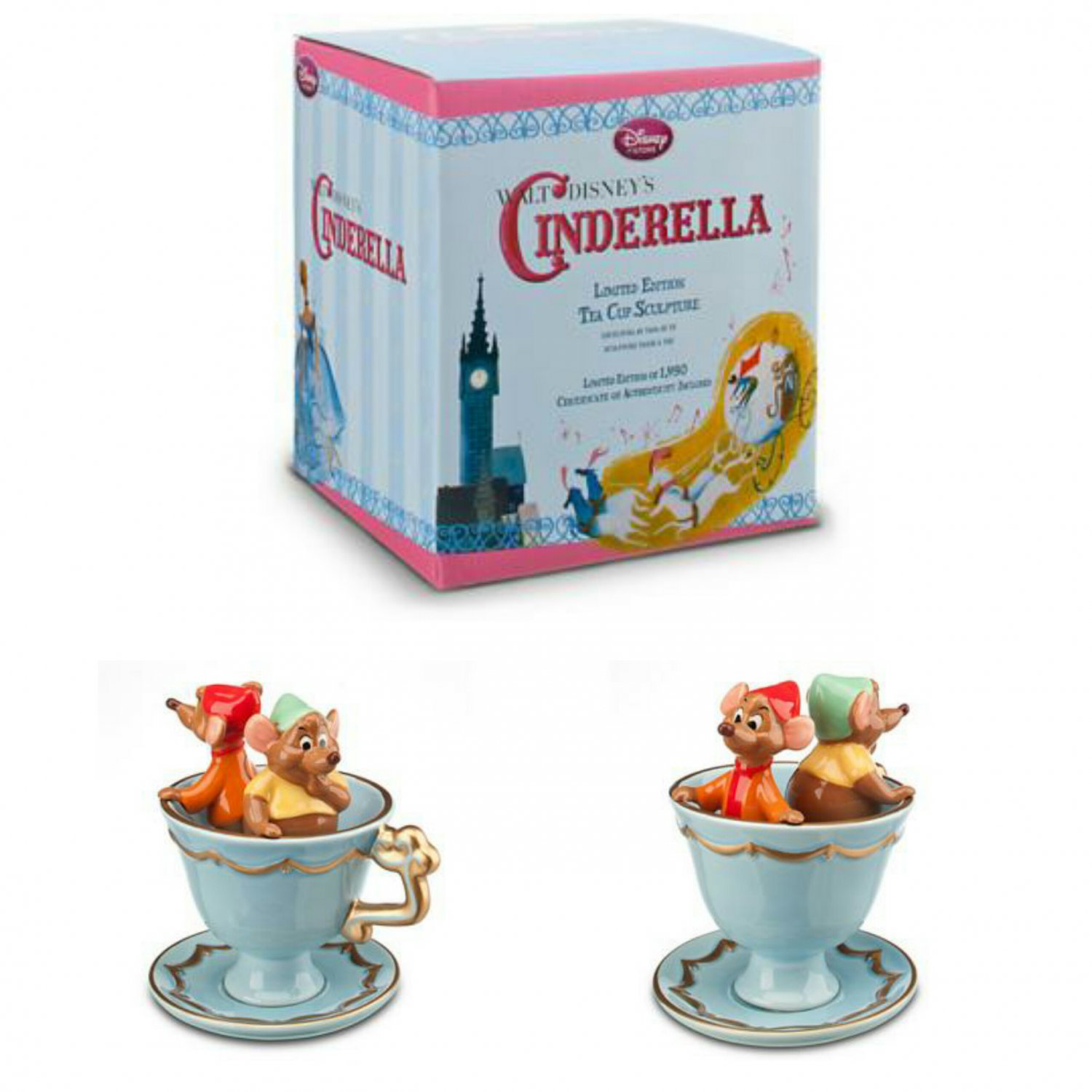 Disney Store Exclusive - Limited Edition Classic Cinderella Tea Cup with Jaq & Gus Figurine