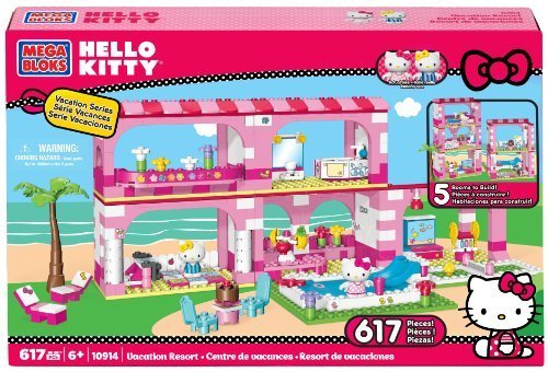 Retired Mega Bloks Hello Kitty Vacation Resort #10914 - 617 Pieces BuildingToy