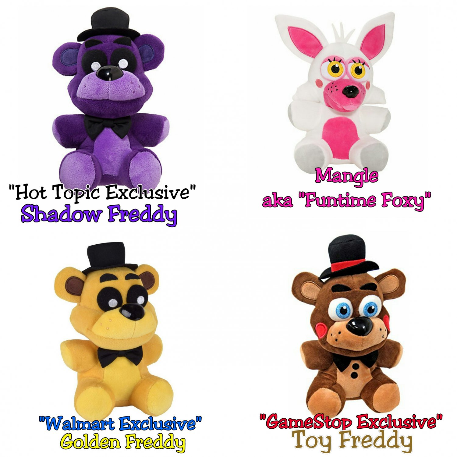Funko five nights at freddy s set of 4 shadow freddy mangle golden