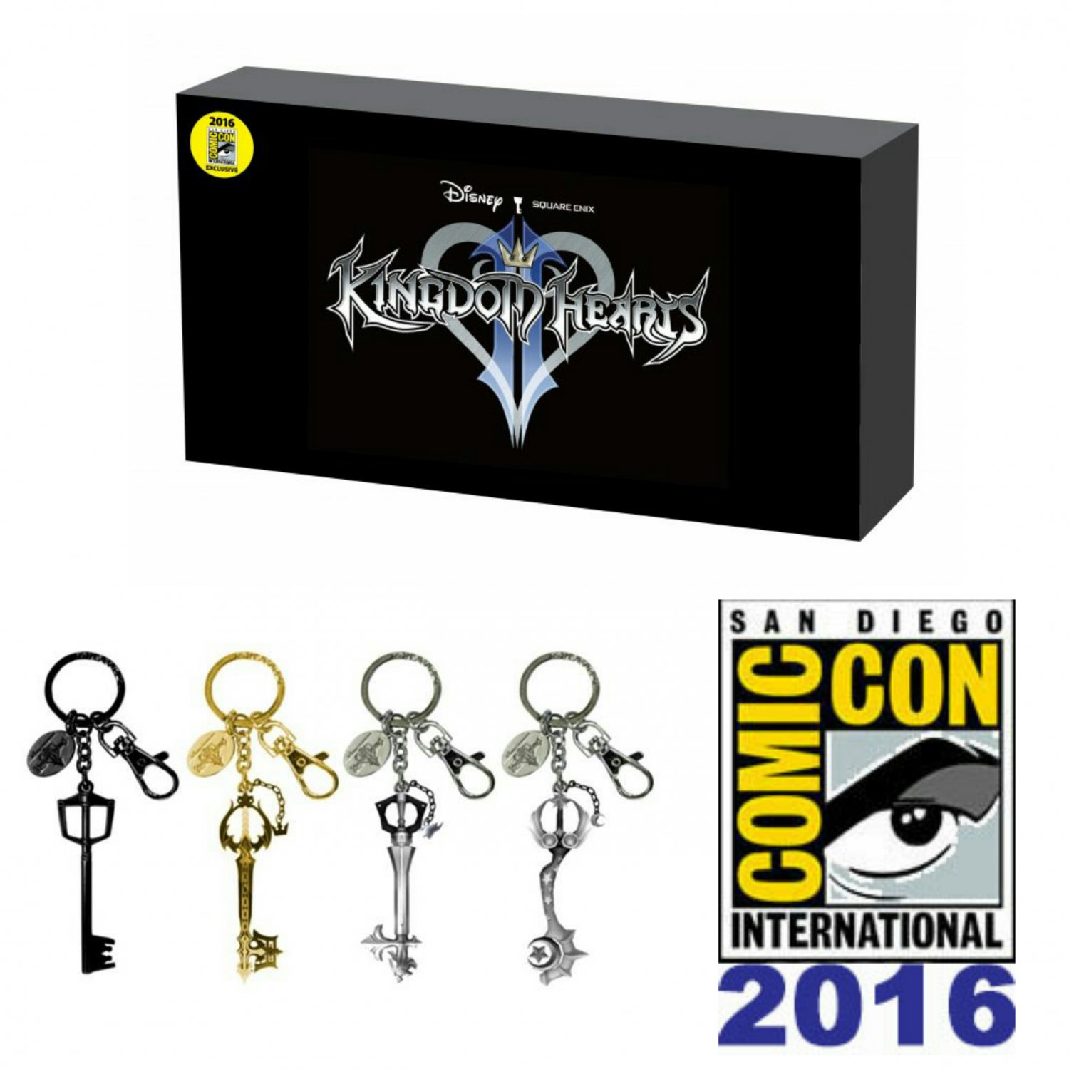 Disney Kingdom Hearts Pewter 4-Piece Keyblade Key Chain Set SDCC 2016 Summer Convention Exclusive