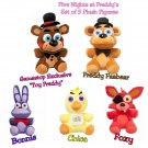Five Nights At Freddy's FNAF Plush Figures Set of 5 Freddy GameStop Toy Freddy Foxy Chica & Bonnie