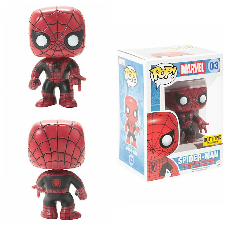 Funko Marvel Pop! #03 Spider-Man (Red & Black Suit) Vinyl Bobble-Head Hot Topic Exclusive
