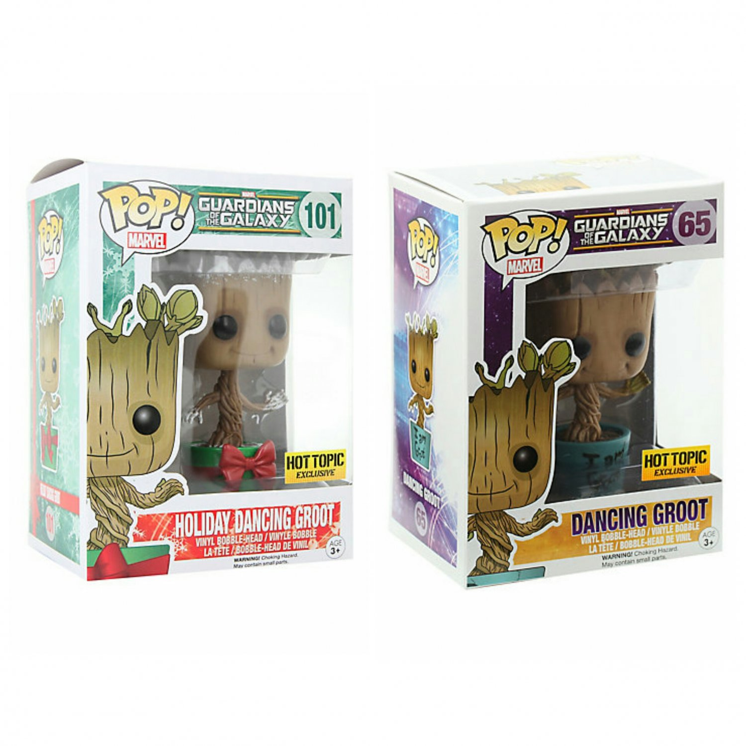Set of 2 FUNKO Marvel Guardians of the Galaxy POP! Dancing & Holiday Groot BobbleHead Hot Topic Ex