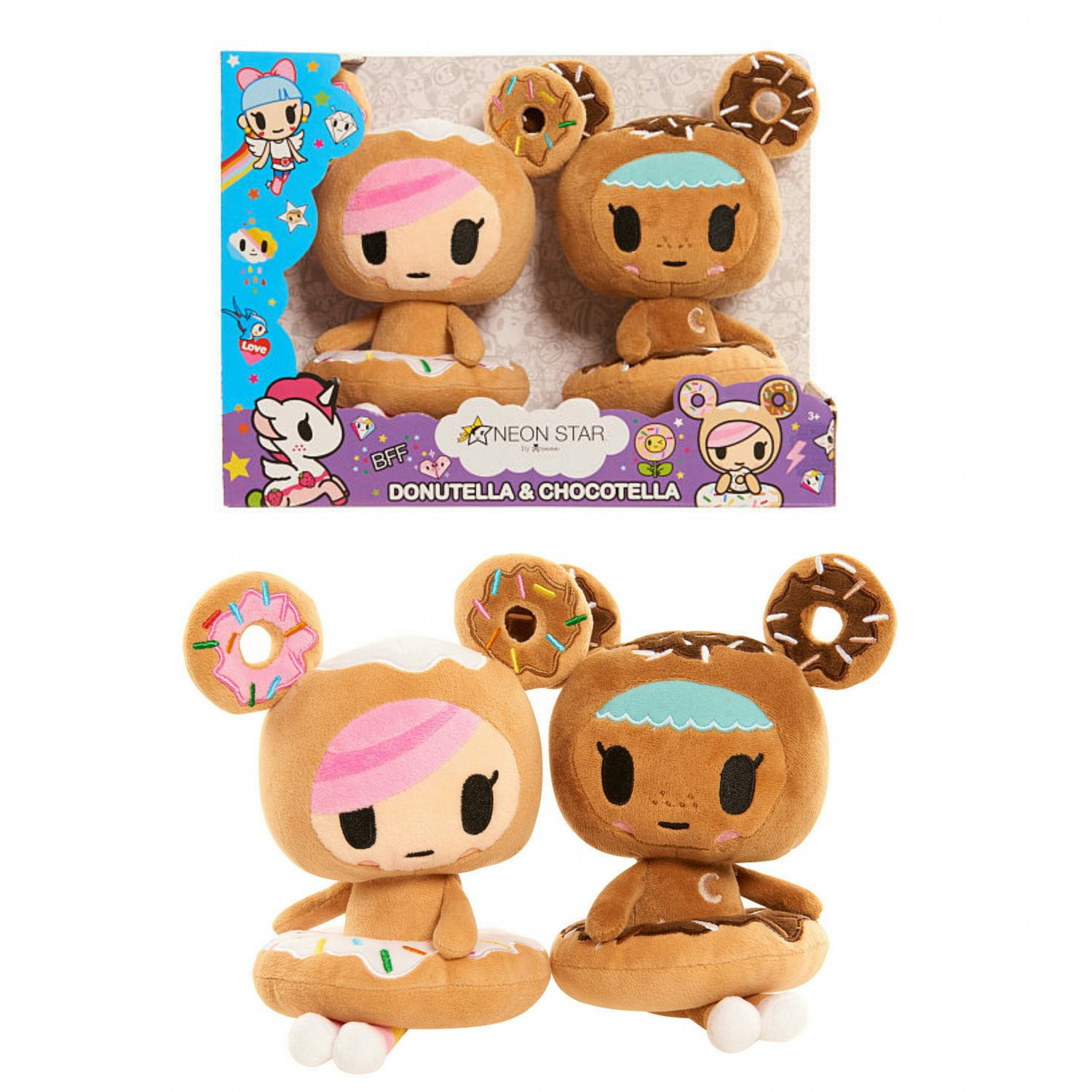 Neon Star by Tokidoki 2 Pack Plush Figures - Donutella & Chocolate by Just Play