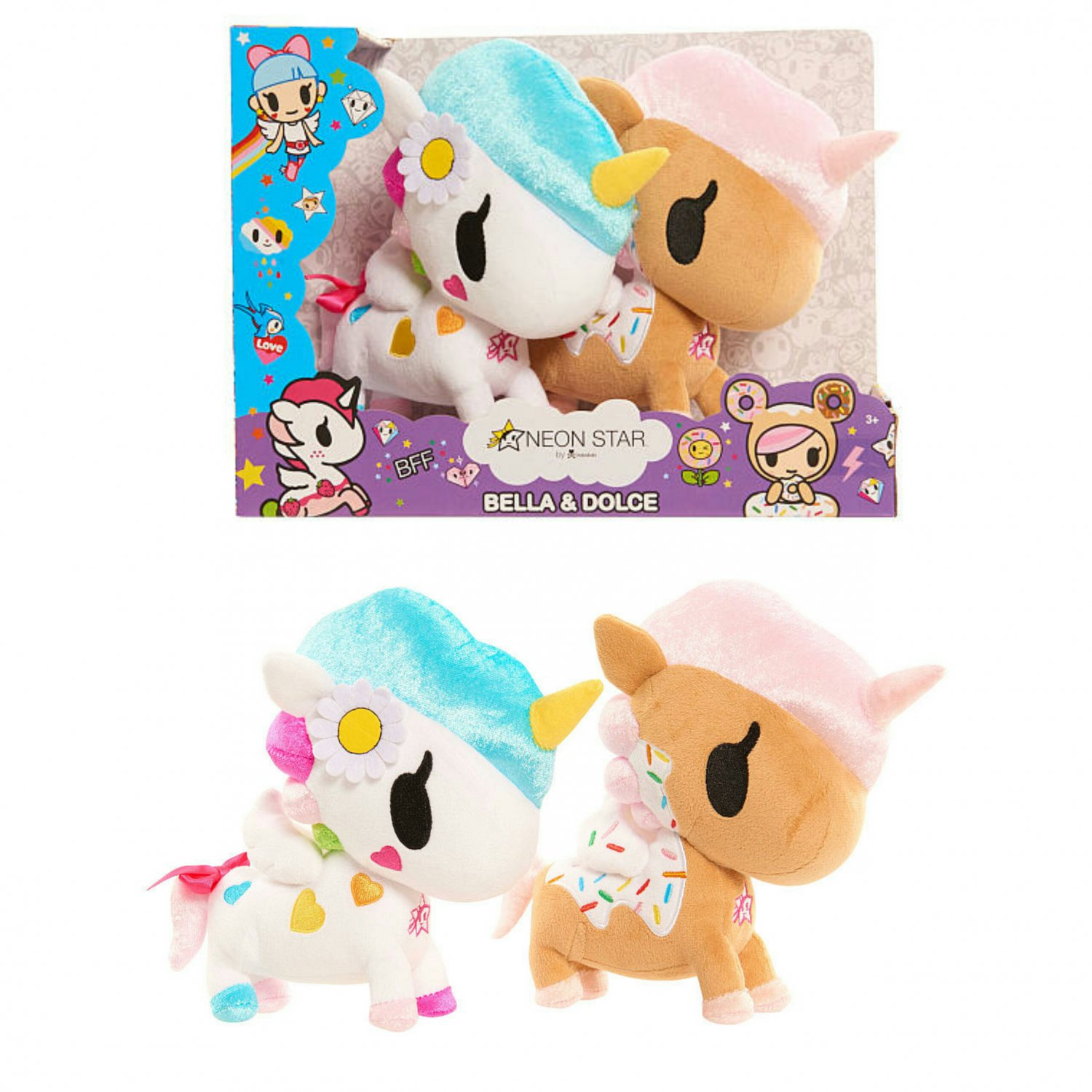 Neon Star by Tokidoki 2 Pack Plush Figures - Belle & Unicorno Dolce