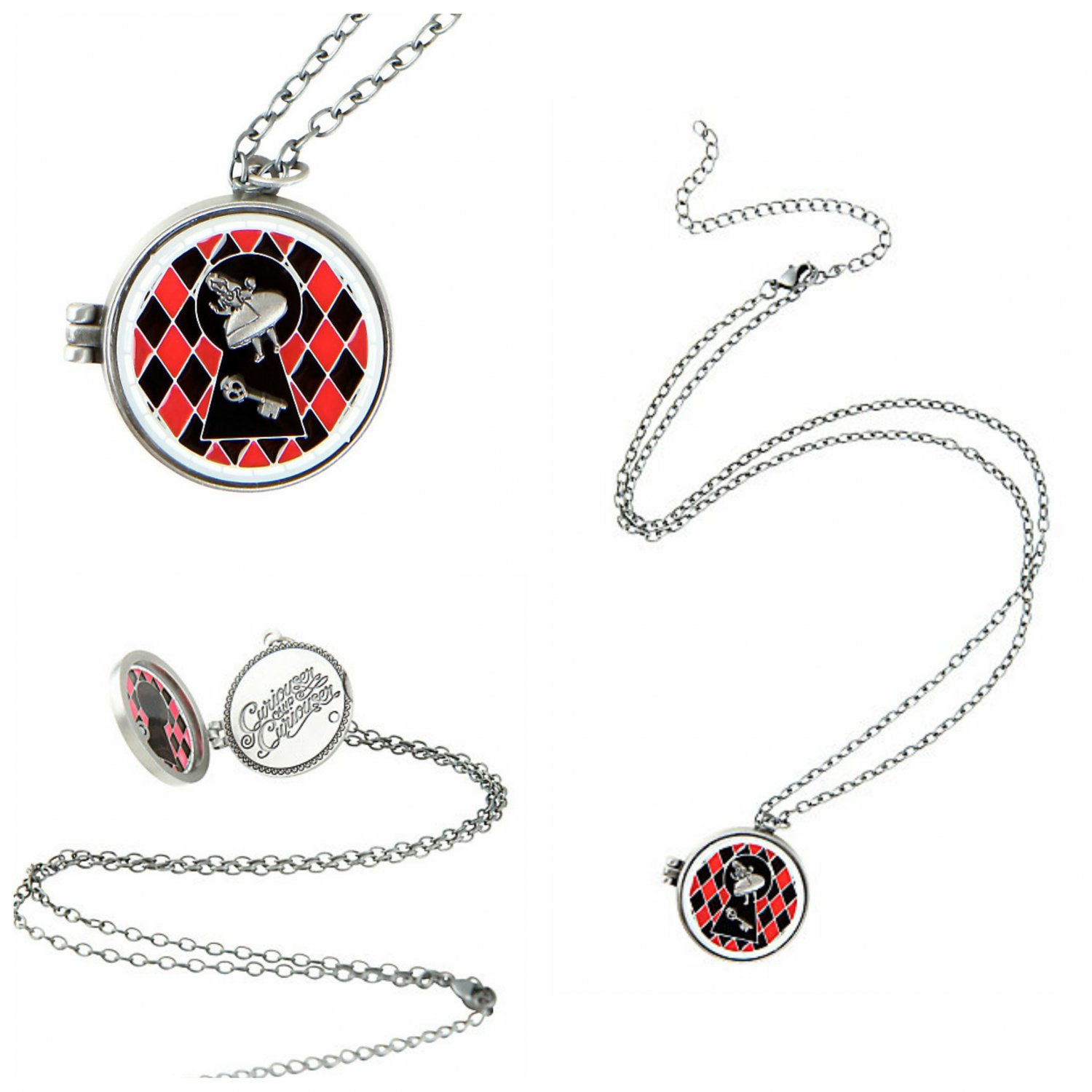Disney Alice In Wonderland Curiouser & Curiouser Stained Glass Locket Charm Pendant Necklace