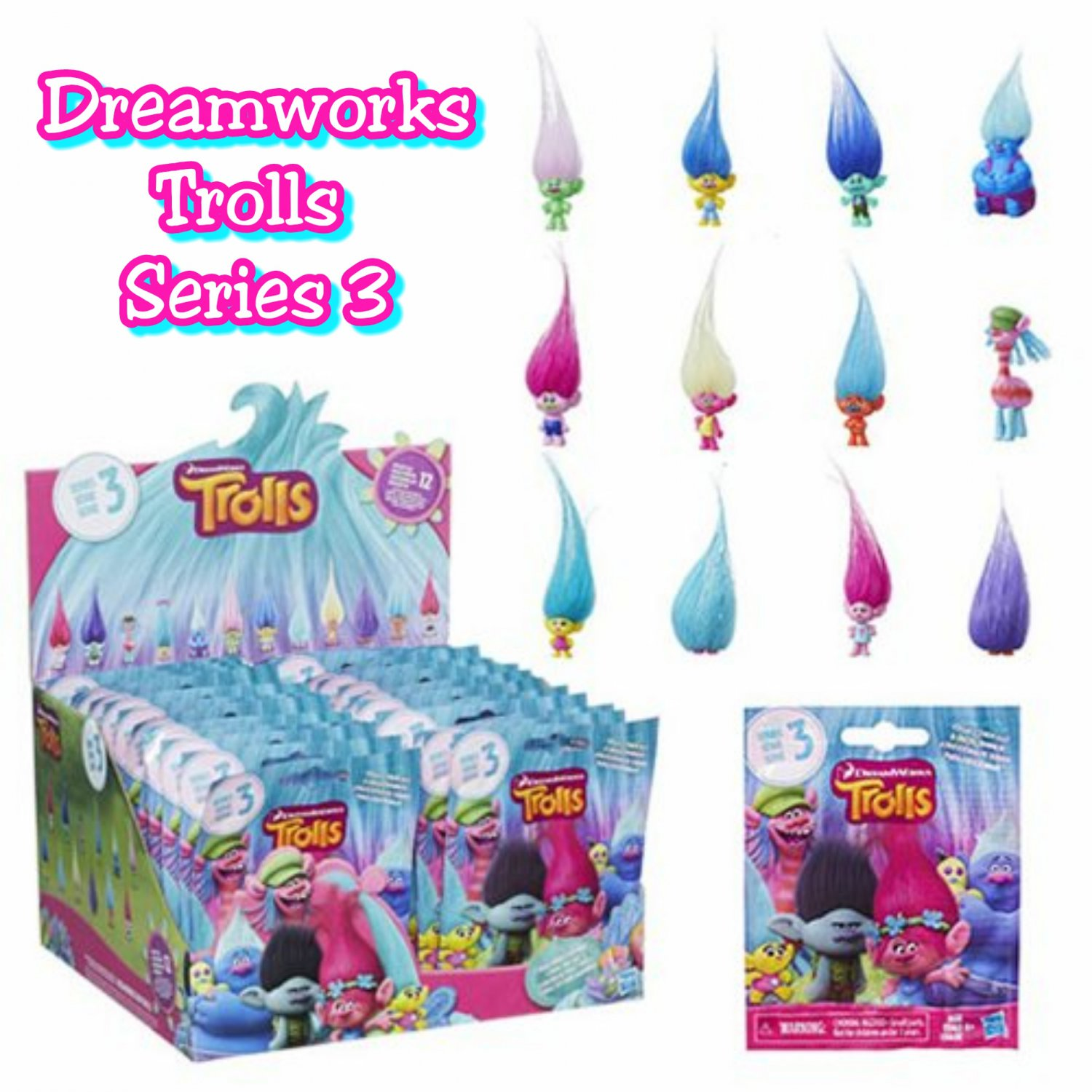 DreamWorks Trolls Movie Surprise Mini Figure Series 3 Mystery Blind Bag �12 Packs by Hasbro