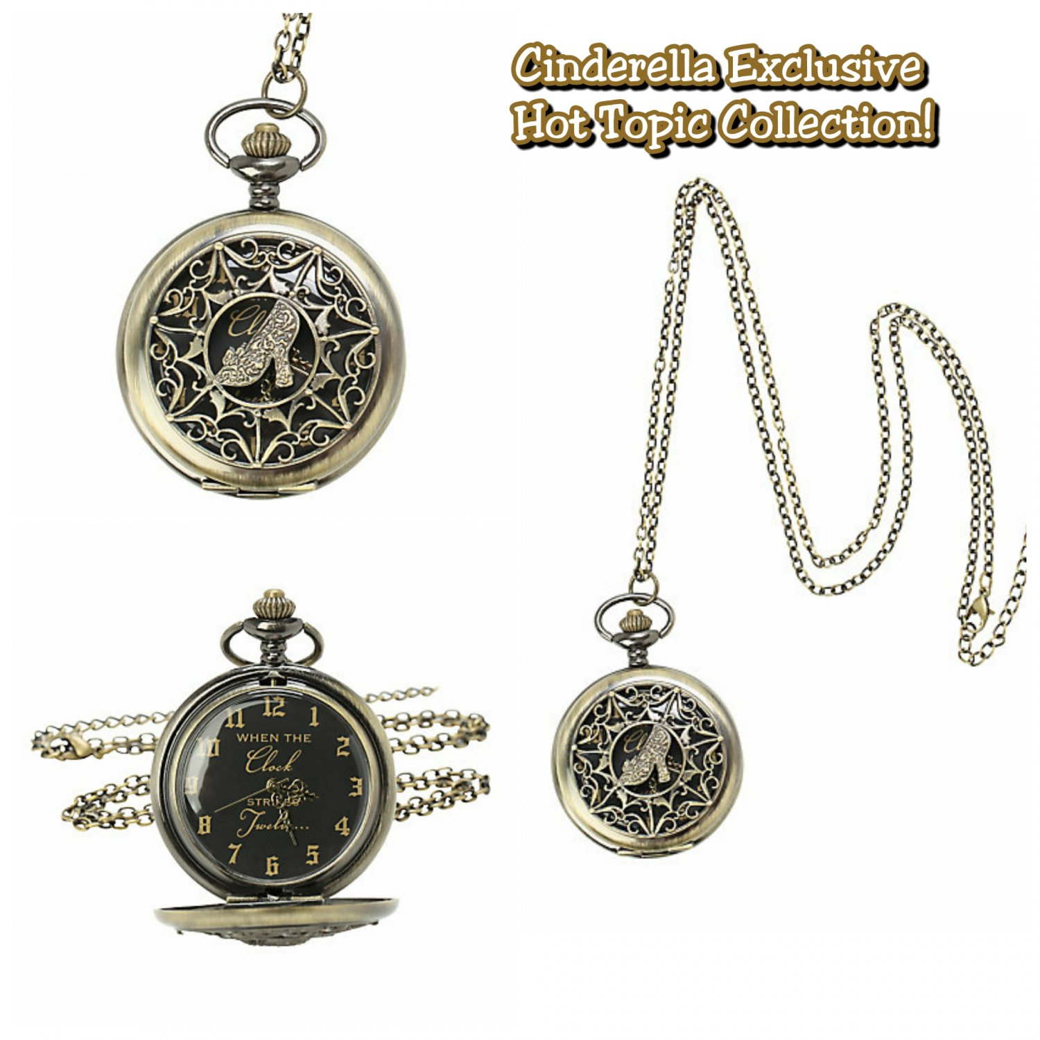 Disney Cinderella Exclusive Hot Topic Collection Pocket Watch Pendant Necklace by HighIntenCity