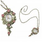 Disney Beauty & The Beast Belle Mirror Pocket Watch Pendant Necklace by Neon Tuesday