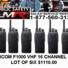 Icom F1000 VHF 136-174 16 ch  lot of six Radio Battery Antenna Charger
