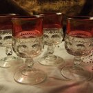 Set of 4 - Tiffin Kings Crown Liquor Glasses (#21)