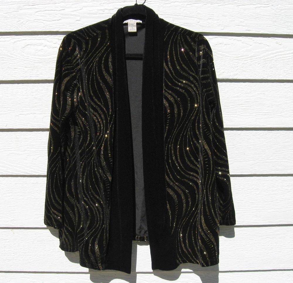 Notations Black Plush Velvet Shrug Small Gold Glitter Jacket Blazer Evening Wear