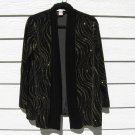 Notations Black Plush Velvet Shrug Small Gold Glitter Jacket Blazer Evening Wear