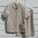 Southern Lady 2 Piece Top Skirt 28 Waist Flaxen Woven with Flax Ivory Outfit