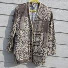HMJ Browns Ivory Blazer M Medium Light Weight Jacket Floral Geometric