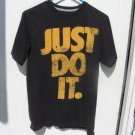 Nike Just Do It Black T-shirt M Medium 36 Chest Gold Lettering