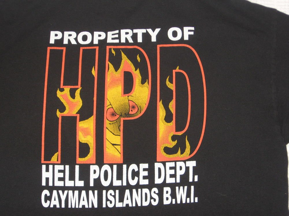 Black Hell Police Dept T-shirt L Large 42 Chest Cayman Island Cops