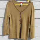 Anne Klein Gold Knit Top L Large 36 Chest Vneck
