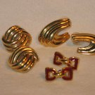 3 Pairs Napier Pierced Earrings Gold Tone Vintage