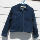 Susan Bristol Blue Jean Jacket L Large 41 inch Denim Light Weight