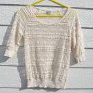 Eyelash Couture Lacey Sweater 32 Chest Ivory Open Weave Top