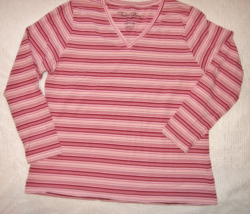 Faded Glory Pink Striped Top 16W 42 Chest V-neck Long Sleeve EUC