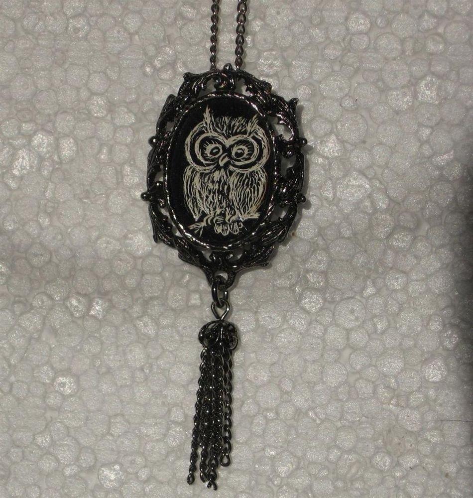 Etched Owl Pendant Necklace Vintage Jewelry Scrimshaw Tassle