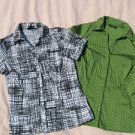 2 Blouses Apt 9 M Medium Black White Green Short Sleeve