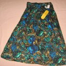 Floral Flower Skirt 16 29 Waist Green Turquoise Brown Black Michaels Place