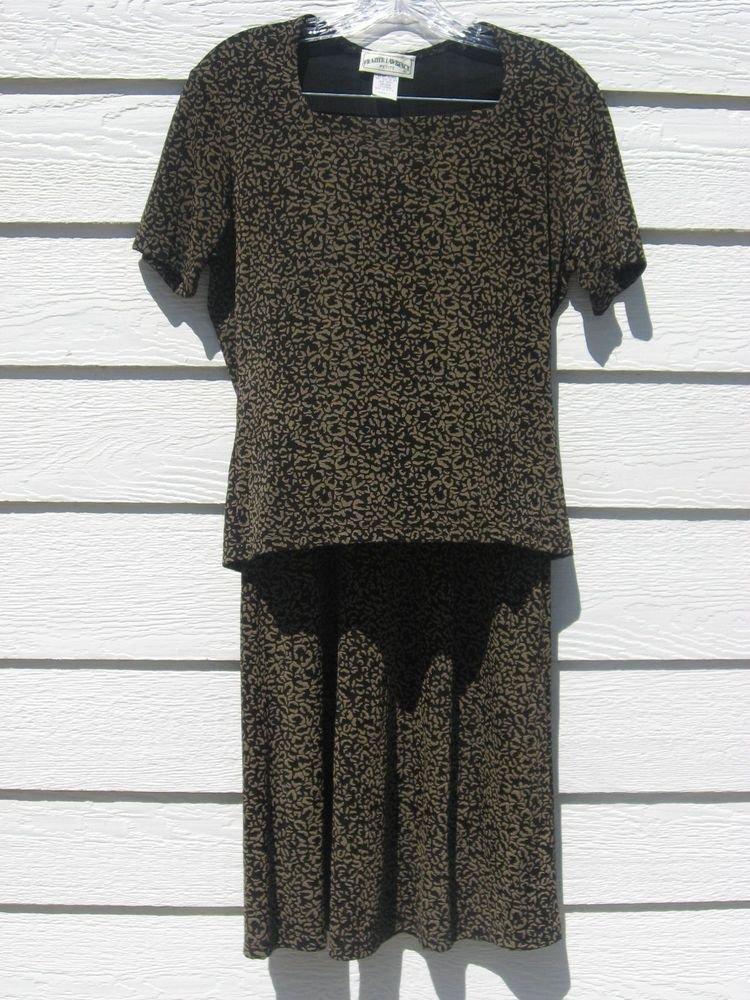 Fraizer Lawrence S 2 Piece Top Long Skirt Black Print Small