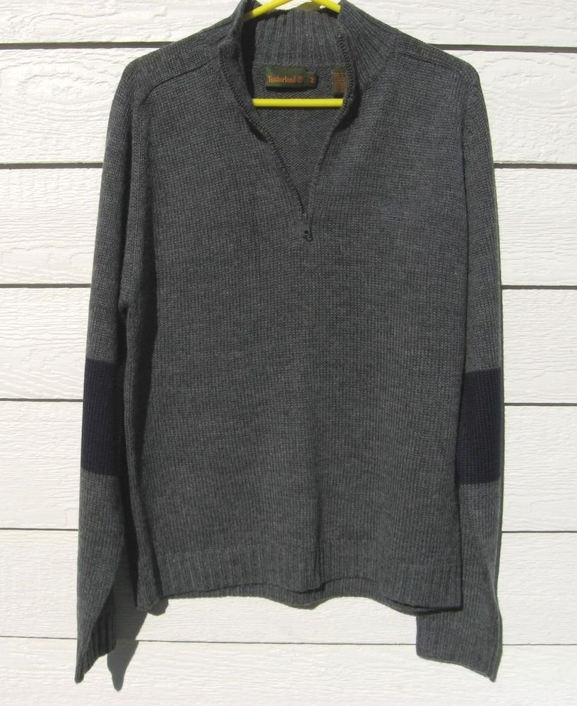 Timberland Gray Sweater M Medium 42 Chest Charcoal Pull Over EUC