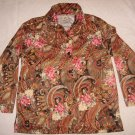 Haband Paisley Floral Blouse S 21 Bust Silky Shirt Red