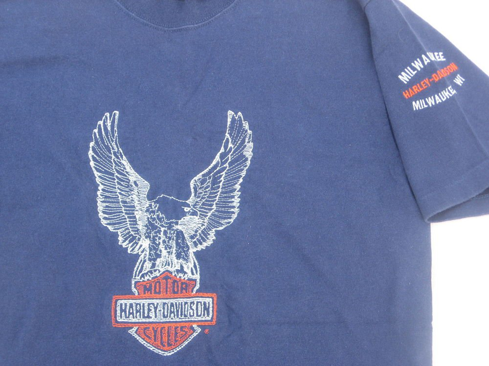 Harley Davidson T shirt M Medium Milwaukee WI Outline Embroidered Blue